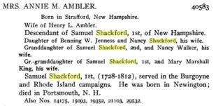 DAR Application Mrs Annie M Ambler based on Samuel Shackford