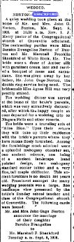 Marriage Marshall Shackford Bernice Norton WEDDED NORTON-SHACKFORD, The Springvale Advocate (Springvale, Maine), 18 September 1908
