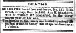 Death Notice Ann M Shackford, wife of William W Shackford The Daily Guardian (Paterson, New Jersey), 15 December 1860