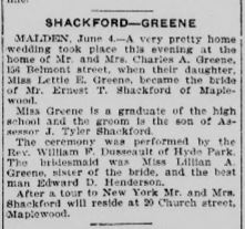 Ernest Shackford Lettie Greene Wedding Boston Post June 5, 1903