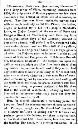 John Shackford Schooner Boundary, Shackford, Eastport, New Hampshire Statesman and State Journal (Concord, New Hampshire), 2 April 1847 Part 1